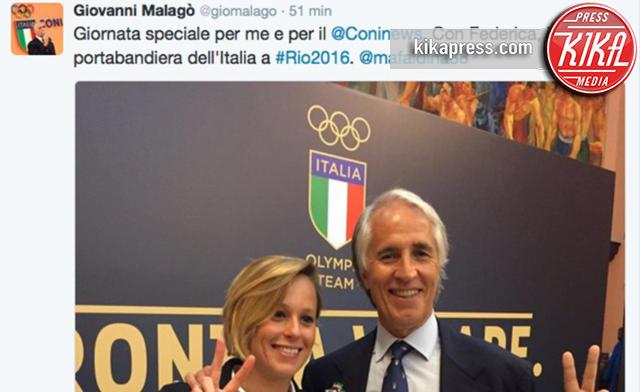 Giovanni Malagò, Federica Pellegrini - Roma - 27-04-2016 - Federica Pellegrini portabandiera italiana alle Olimpiadi di Rio