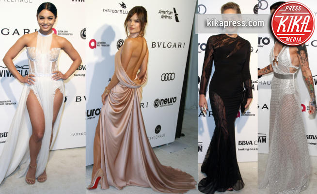 Ruby Rose, Alessandra Ambrosio, Vanessa Hudgens, Sharon Stone - Los Angeles - 27-02-2017 - Oscar 2017: sexy spacchi e trasparenze al party di Elton John