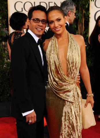 """Marc Anthony, Jennifer Lopez - Beverly Hills - 11-01-2009 - Jennifer Lopez senza la fede ai Golden Globe """"perchè non andava con il vestito"""""""