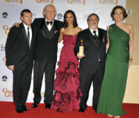 Sigourn, Jon Landau, Sam Worthington, Zoe Saldana, James Cameron - Los Angeles - 18-01-2010 - James Cameron prepara non uno ma quattro sequel di Avatar