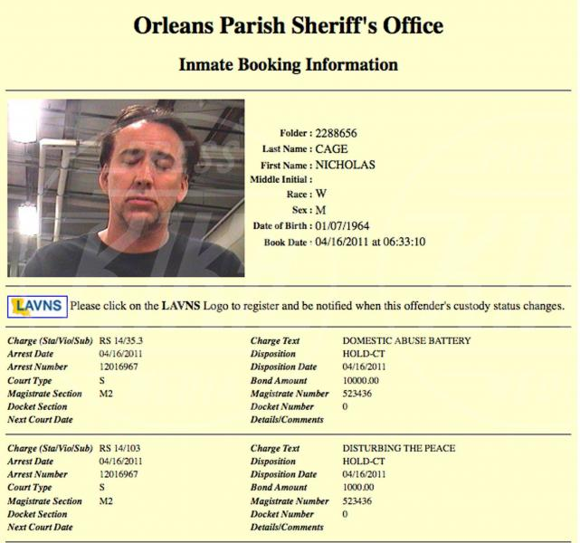 Nicolas Cage - New Orleans - 17-04-2011 - Per le star è obbligatorio il passaggio dietro le sbarre