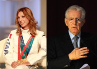 Valentina Vezzali, Mario Monti - Milano - 17-01-2013 - Dallo sport alla politica il passo è breve