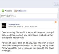 Royal Mint - Londra - Un penny d'argento per ogni piccolo inglese nato il 22/7/2013