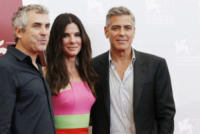 Alfonso Cuaron, Sandra Bullock, George Clooney - Venezia - 28-08-2013 - Festival di Venezia: il photocall di Gravity
