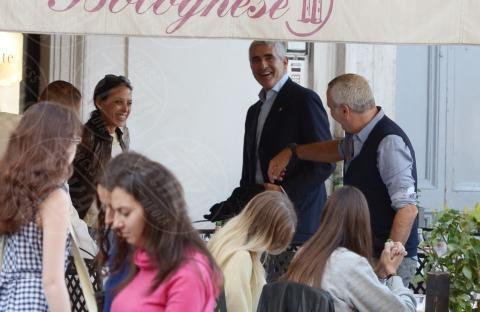 Caterina Casini, Azzurra Caltagirone, Pier Ferdinando Casini, Giorgio Panariello - Roma - 26-10-2013 - Pranzo in famiglia dal Bolognese per Pier Ferdinando Casini