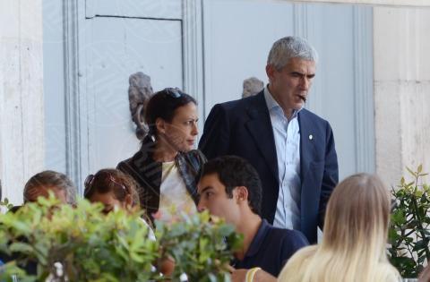 Caterina Casini, Azzurra Caltagirone, Pier Ferdinando Casini - Roma - 26-10-2013 - Pranzo in famiglia dal Bolognese per Pier Ferdinando Casini