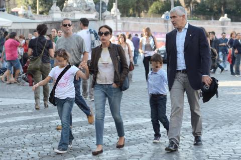 Caterina Casini, Francesco Casini, Azzurra Caltagirone, Pier Ferdinando Casini - Roma - 26-10-2013 - Pranzo in famiglia dal Bolognese per Pier Ferdinando Casini