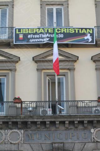 Striscione per Cristian D'Alessandro - Napoli - 29-10-2013 - Striscione sulla facciata del Comune per Cristian D'Alessandro