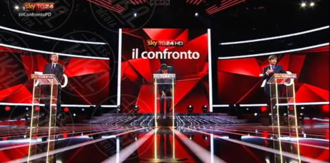 Gianni Cuperlo, Pippo Civati, Matteo Renzi - Milano - 29-11-2013 - I magnifici tre del Pd a confronto tv per la Segreteria