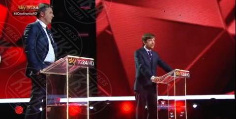 Pippo Civati, Matteo Renzi - Milano - 29-11-2013 - I magnifici tre del Pd a confronto tv per la Segreteria