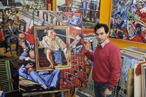 Gaetano Porcasi, Matteo Renzi - Palermo - 18-12-2013 - I politici? Hanno tutti il naso lungo per Gaetano Porcasi