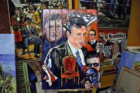Totò Riina, Nino Di Matteo, Gaetano Porcasi - Palermo - 18-12-2013 - I politici? Hanno tutti il naso lungo per Gaetano Porcasi