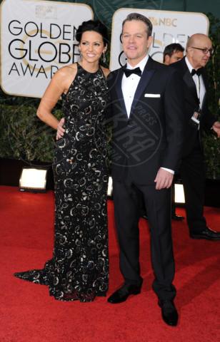 Luciana Barroso, Matt Damon - Beverly Hills - 11-01-2014 - Golden Globe 2014: gli arrivi sul red carpet
