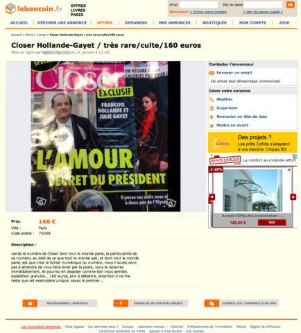 Closer cover, François Hollande - Parigi - 15-01-2014 - Affaire Hollande: Closer è un numero da collezione