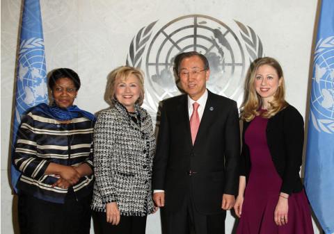 Phumzile Mlambo Ngcuka, Ban Ki Moon, Hillary Clinton, Chelsea Clinton - New York - 04-02-2014 - Hillary Clinton: