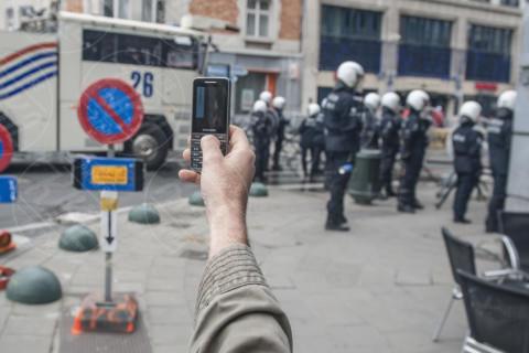 Manifestazione anti austerità - Bruxelles - 04-04-2014 - Proteste anti austerità: scontri tra manifestanti e polizia