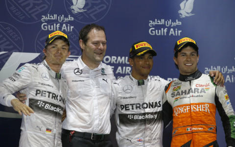 Sergio Perez, Formula 1, Nico Rosberg, Lewis Hamilton - Sakhir - 06-04-2014 - Formula 1: La Mercedes trionfa anche in Bahrain