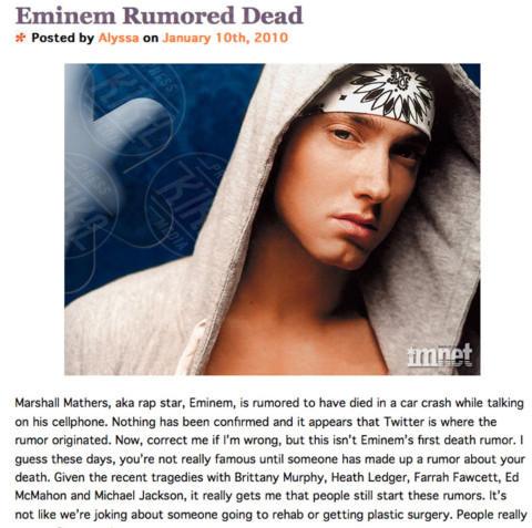Eminem - Los Angeles - 29-12-2010 - Britney Spears è morta: il web si dispera, ma era una bufala