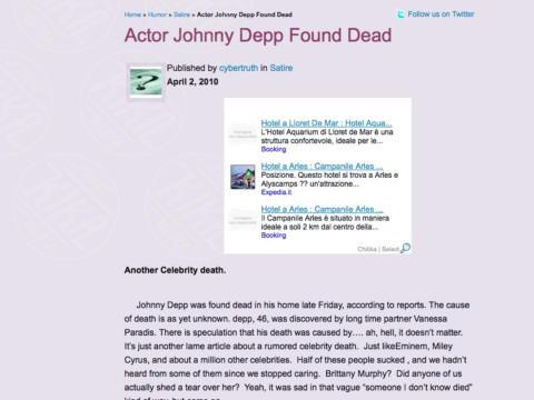 Johnny Depp - Los Angeles - 29-12-2010 - Britney Spears è morta: il web si dispera, ma era una bufala