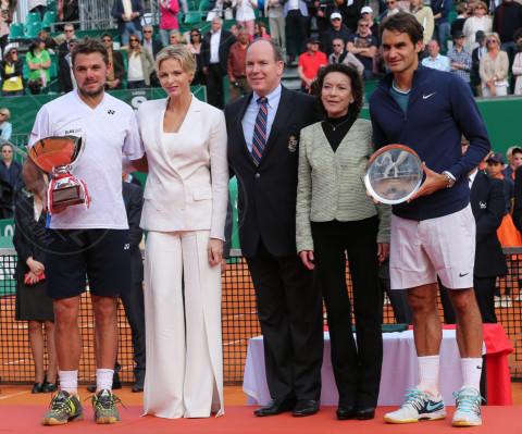 Principe Alberto di Monaco, Stanislas Wawrinka, Principessa Charlene Wittstock, Roger Federer - Monte Carlo - 20-04-2014 - Rolex Master Monte Carlo: la gara in doppio è sugli spalti