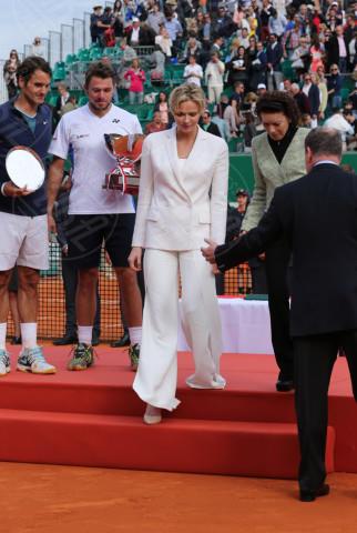 Stanislas Wawrinka, Principessa Charlene Wittstock, Roger Federer - Monte Carlo - 20-04-2014 - Rolex Master Monte Carlo: la gara in doppio è sugli spalti