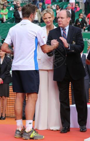 Principe Alberto di Monaco, Stanislas Wawrinka, Principessa Charlene Wittstock - Monte Carlo - 20-04-2014 - Rolex Master Monte Carlo: la gara in doppio è sugli spalti