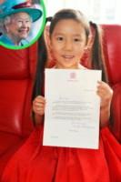 """Leia Zhu, Regina Elisabetta II - 21-08-2014 - """"Cara Regina Elisabetta, vuoi venire al mio saggio?"""""""
