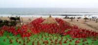Sculture di sabbia, Babbo Natale - Odisha - 07-10-2014 - Natale in India? Non è un film ma un'opera d'arte!