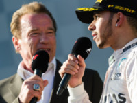 Lewis Hamilton, Arnold Schwarzenegger - Melbourne - 15-03-2015 - F1: Hamilton e Rosberg trionfano in Australia, Vettel terzo