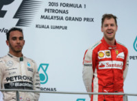 Sebastian Vettel, Lewis Hamilton - Sepang - 29-03-2015 - Gp Qatar: Sebastian Vettel riporta alla vittoria la Ferrari