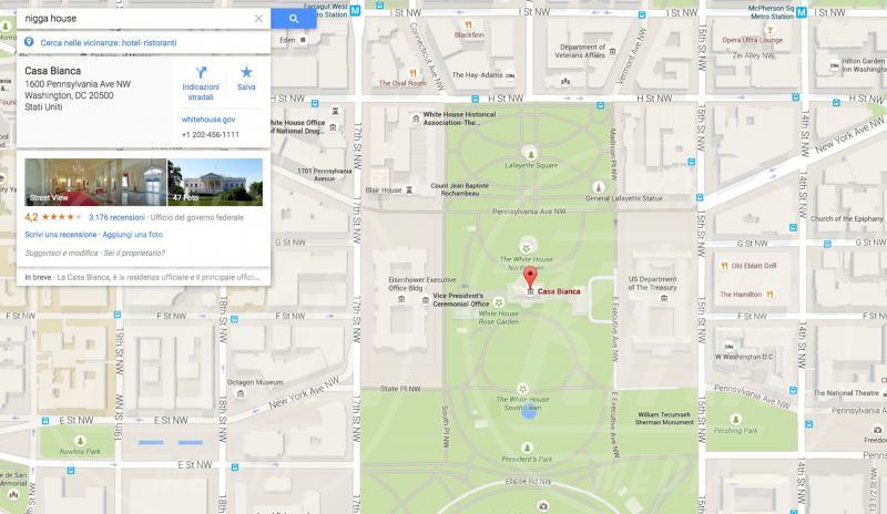 """Casa Bianca - Washington - 20-05-2015 - La Casa Bianca? Per Google è la """"casa del negro"""""""