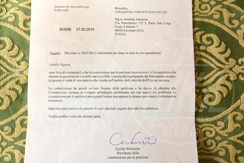 Lettera Commissione Europea - Ercolano - 14-09-2015 - Annarita sfida la Merkel: