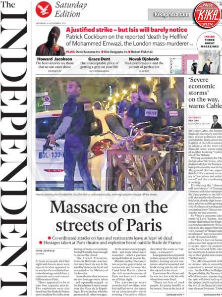 The Independent - Parigi - 14-11-2015 - Carneficina a Parigi, le prime pagine di tutto il mondo