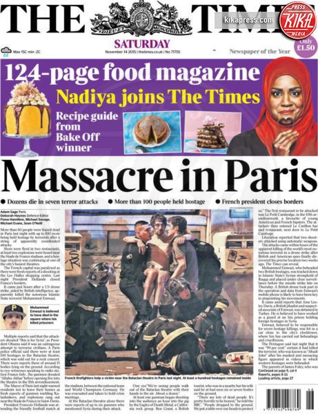 The Times - Parigi - 14-11-2015 - Carneficina a Parigi, le prime pagine di tutto il mondo