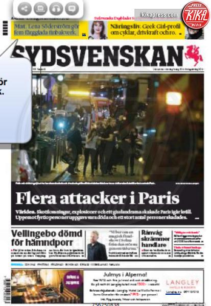 Sydsvenskan - Parigi - 14-11-2015 - Carneficina a Parigi, le prime pagine di tutto il mondo