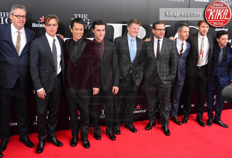 Byron Mann, Steve Carrell, Jeremy Strong, Michael Lewis, Finn Wittrock, Adam McKay, Ryan Gosling, Brad Pitt - New York - 23-11-2015 - Poker di stelle per La Grande Scommessa