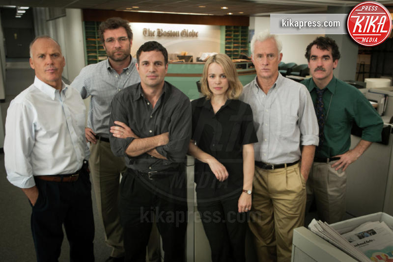 Spotlight, Liev Schreiber, Rachel McAdams, Mark Ruffalo, Michael Keaton - Hollywood - 08-01-2016 - 88th Oscar, cede un faro in sala stampa mentre parla McCarthy