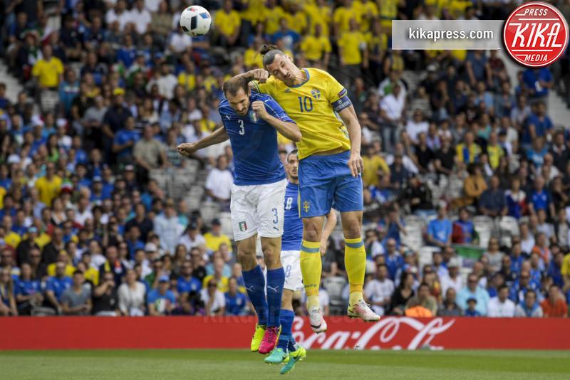 Giorgio Chiellini, Zlatan Ibrahimovic - Tolosa - 17-06-2016 - Euro 2016: Italia-Svezia, Eder regala la qualificazione