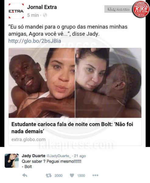 Jady Duarte, Usain Bolt - 22-08-2016 - Usain Bolt, notte brava a Rio: scappatella con una studentessa