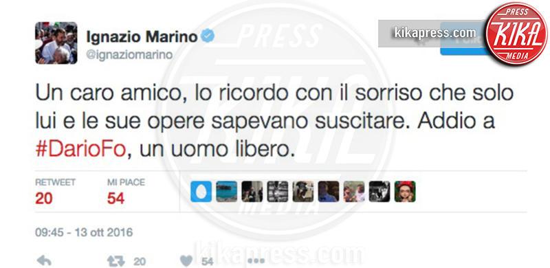 Ignazio Marino - 13-10-2016 - La morte di Dario Fo: il cordoglio sui social