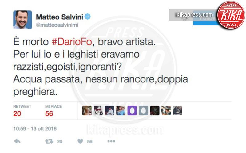 Matteo Salvini - 13-10-2016 - La morte di Dario Fo: il cordoglio sui social