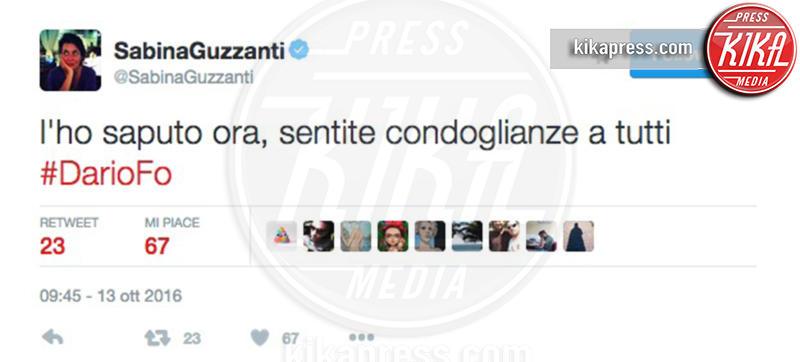 Sabina Guzzanti - 13-10-2016 - La morte di Dario Fo: il cordoglio sui social