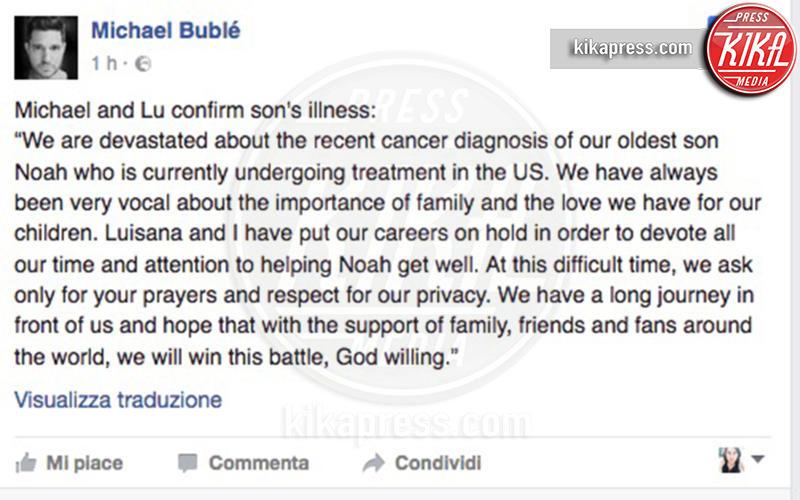 Michael Bublè - 04-11-2016 - Michael Bublé, buone notizie: Noah è guarito dal tumore