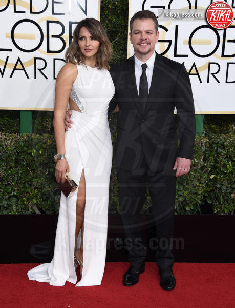 Luciana Barroso, Matt Damon - Beverly Hills - 08-01-2017 - Golden Globe 2017: gli arrivi sul red carpet