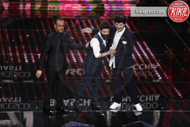 Leonardo Lamacchia, Francesco Guasti, Carlo Conti - Sanremo - 08-02-2017 - Sanremo 2017: le foto della seconda serata