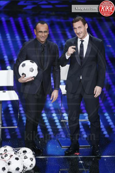 Carlo Conti, Francesco Totti - Sanremo - 08-02-2017 - Sanremo 2017: le foto della seconda serata