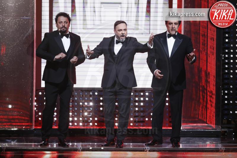 Flavio Insinna, Gabriele Cirilli, Enrico Brignano - Sanremo - 09-02-2017 - Sanremo 2017: le foto della seconda serata
