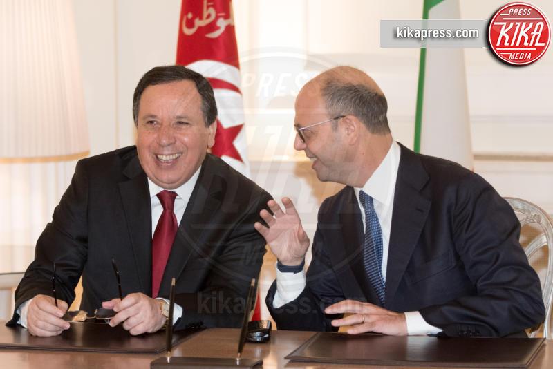 Khemaies Jhinaoui, Angelino Alfano - Roma - 09-02-2017 - Angelino Alfano, firmata dichiarazione congiunta Italia-Tunisia