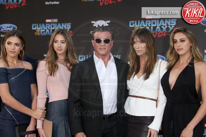 Sophia Rose Stallone, Scarlet Rose Stallone, Sistine Rose Stallone, Jennifer Flavin, Sylvester Stallone - Hollywood - 19-04-2017 - Guardiani della Galassia 2: la crew Stallone si prende la scena