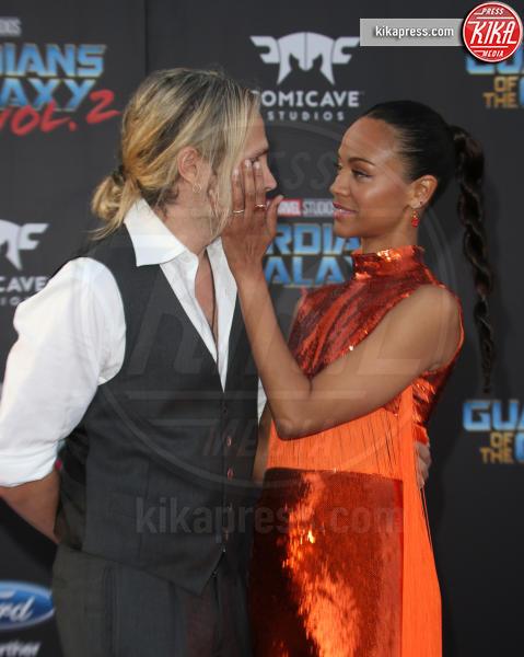 Marco Perego, Zoe Saldana - Hollywood - 19-04-2017 - Guardiani della Galassia 2: la crew Stallone si prende la scena